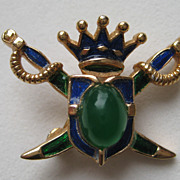 "Vintage Crown Trifari ""Royal Coat of Arms"" Crown MINI  Enamel Emerald Green  Cabocho"