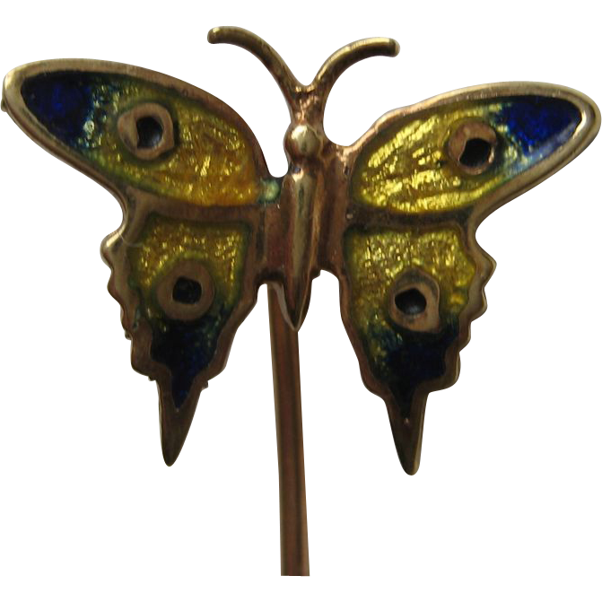 Victorian Art Nouveau 14k Guilloche Enamel Yellow Blue Butterfly Stick Pin