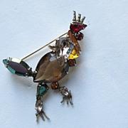 """Vintage Schreiner SIGNED """" ROOSTER"""" Chicken Rare Figural New York Rhinestone Brooch"""
