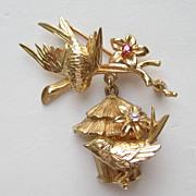 Vintage Napier RARE 14k Yellow Gold Birds Birdhouse Ruby Diamond Pin Brooch