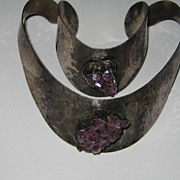 Vintage Denmark Modernist JACOB HULL Silver Amethyst CRYSTAL Necklace Bracelet Cuff Set