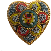 Vintage italy Micro Mosaic Heart Floral Flower Pin Brooch