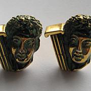 Vintage KENT Cufflinks Greek Roman Face Column Antiqued Finish