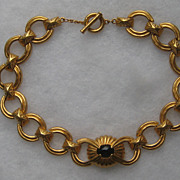 Vintage Givenchy Byzantine Style Faux Emerald Gold Tone Necklace Paris New York