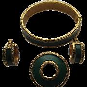 Vintage BERGERE Signed Set Clamper Bracelet Gold Tone Green Plastic Pin Clip Earrings Victoria