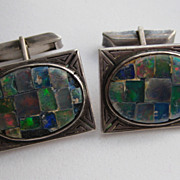 """Vintage Mexico Taxco Sterling Silver """" OPAL"""" Signed Cufflinks 1930's"""