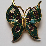 Vintage Trifari Butterfly Enameled Signed Brooch Pin Figural