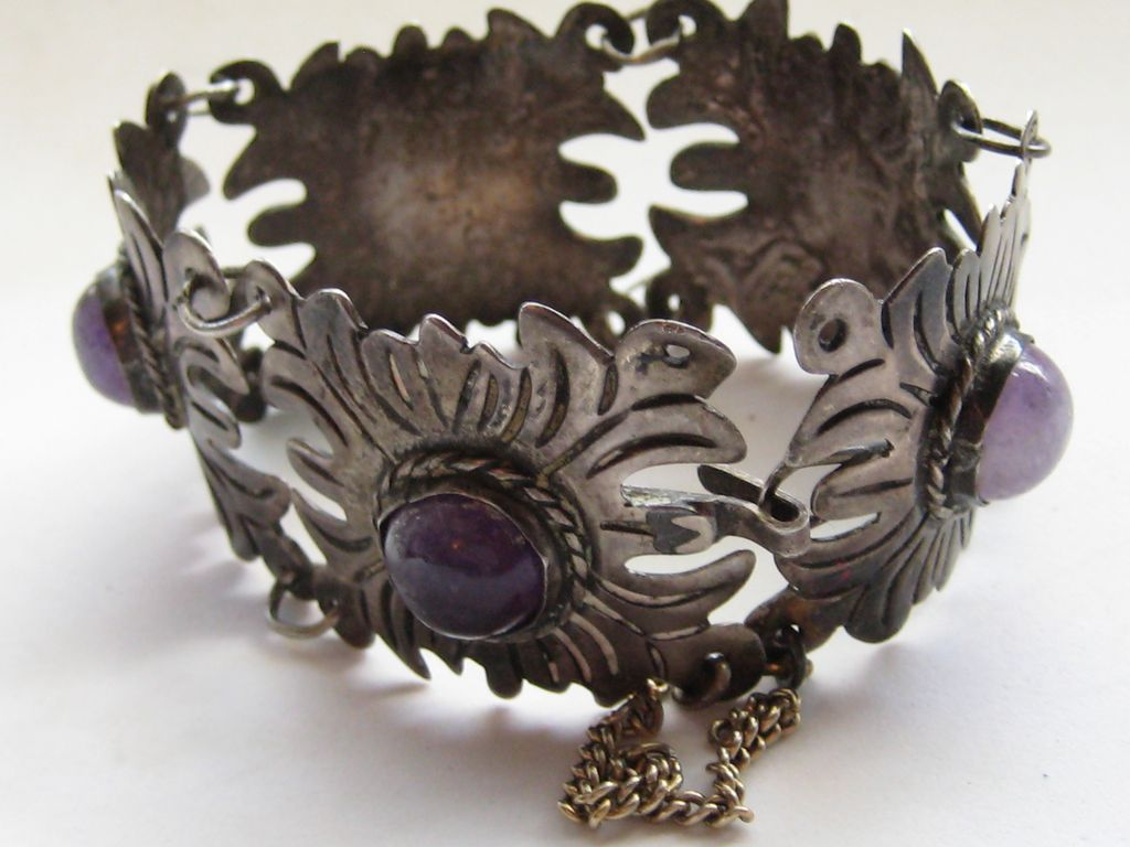 Vintage Mexico Taxco Bracelet Silver Arts And Craft Style