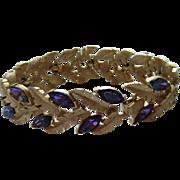 Vintage Crown Trifari Bracelet PURPLE Navette Floral Leaf Signed