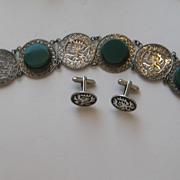 Vintage Taxco Bracelet Cufflinks Sterling KWAUHTLI Chrysoprase Stone