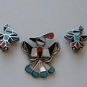 Vintage Zuni Totem Post Thunderbird Sterling Silver Pin Clip Earrings
