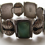 Vintage Mexico Taxco Bracelet  Silver TRAVERTINE Arts and Crafts Style Beautiful