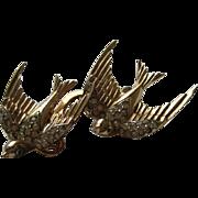 Vintage Coro Sterling Swallow Duette Rhinestone Brooch Fur Clip