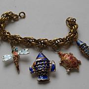 Vintage China Articulated Sea Animals Cloisonne Enameled Charm BRACELET