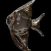 Vintage Coro Angel Fish Sterling Rhinestone Brooch Fur Clip Pin