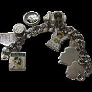 Vintage Charm Bracelet Sterling Green Bay Packers etc. Enamel