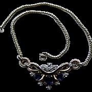 Vintage Trifari Necklace ROYAL BLUE RHINESTONE Faceted ENAMELING Goldtone 1940's