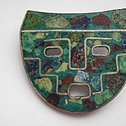 """Vintage Taxco Mexico """"MASK""""  Turquoise Sterling Inlaid Pendent Brooch Pin"""