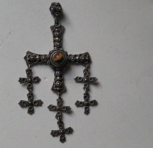 Vintage Taxco Mexican Cross LARGE Dangles Sterling Silver Tiger Eye Pendent