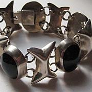 "Vintage Taxco Mexico ""XOXO"" Onyx Sterling Silver Cuff  Bracelet"