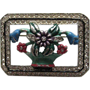 Early Vintage Coro FLOWER POT Enamel Rhinestone Brooch Pin Signed