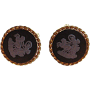 Vintage Wedgwood Genuine Incolay Cameo Woman Figural Chariot Horses Cufflinks Signed