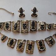 Vintage Charles F.  Worth Enamel African Tribal Figural Faces Parure Necklace Bracelet Screw E