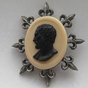 Vintage Tortolani CAMEO Fleur-de-lis Faux Marble Pin Brooch