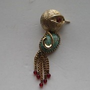 "Vintage Napier Bird Figural ""RARE"" Dangles Art Glass Belly Signed Pin Brooch"