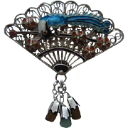 Vintage China Fan Bird Of  Paradise Sterling Silver Cloisonne Vermeil  Enamel Dangle Pin Brooch