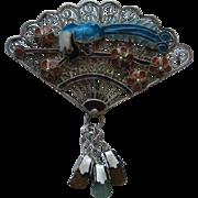 Vintage China Fan Bird Of  Paradise Sterling Silver Cloisonne Vermeil  Enamel Dangle Pin Brooc