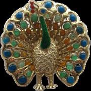 Vintage Alice Caviness Germany PEACOCK Enamel Sterling Silver  Realistic Pin Brooch