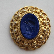 "Vintage Castlecliff  Intaglio ""ROYAL BLUE"" Roman Warrior Helmet Head Pin Brooch Pendent Necklace"