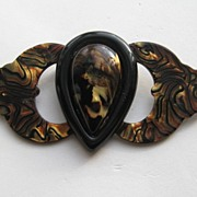 "Vintage ANKA Lucite ""HUGE"" Wings Heart Plastic Brooch Pin"