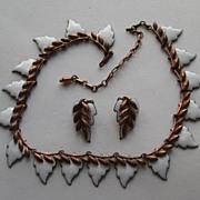 "Vintage Matisse Renoir "" WHITE"" Enamel Leaf  Copper Necklace Earrings 1950's"