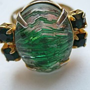 "Vintage Ring ""HUGE"" Green Carved Glass Rhinestone Adjustable"