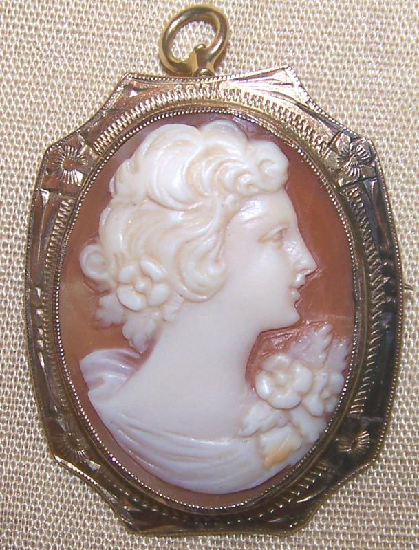 Victorian 10K Shell Cameo Pin Pendant Fancy Valentine Gift
