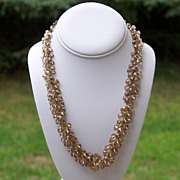 SALE Pale Champagne Bead Dangle ChaCha Necklace  Valentine Gift