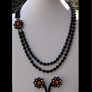 SALE Hobe Demi Parure Necklace Earring Set Original Tag Black Orange Valentine Gift