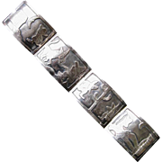 Mexican Sterling Silver Panel Bracelet  CJB for Diaz Santoyo