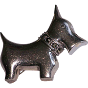 Sterling Silver Scotty Scottie Dog Pin Cut Steel Collar 925