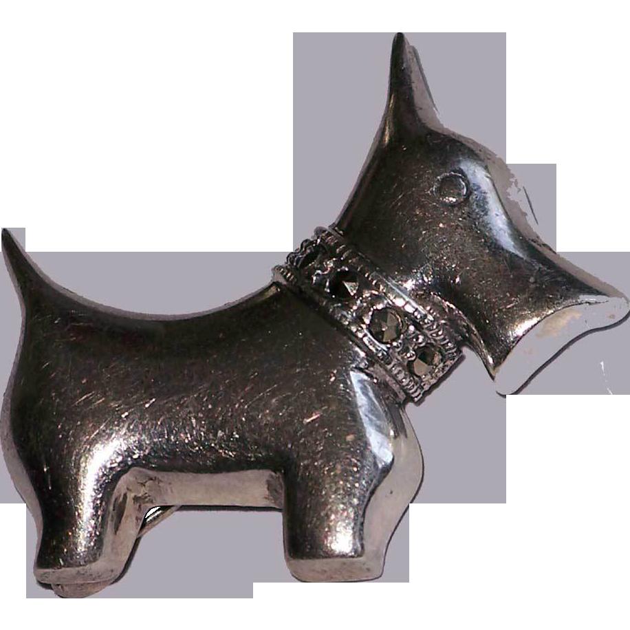 Sterling Silver Scotty Scottie Dog Pin Cut Steel Collar 925