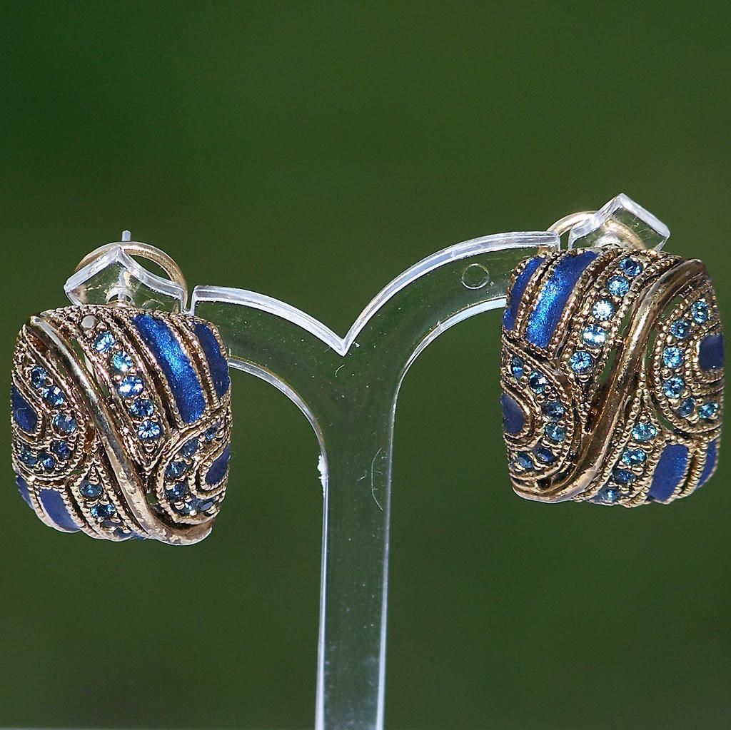 Enamel Rhinestone Goldtone Pierced Earrings Jewel Blue Persian