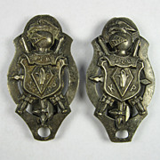 Knights of Pythias Belt Buckle Slide Sword Hangers Matched Pair