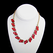 SALE Coro 1950s Red Hearts Choker Necklace Vintage Thermoset Valentine Gift
