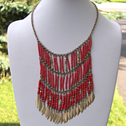 SALE Leaf Fringe Bib Orange Bead Necklace Fringed Boho Hippie   Valentine Gift