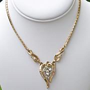 SALE Trifari Alfred Phillippe Goldtone Rhinestone Necklace Book Piece 1953  Valentine Gift