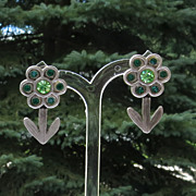 Vintage Agatha Paris Pewter Tone Articulated Flower Pierced Earrings