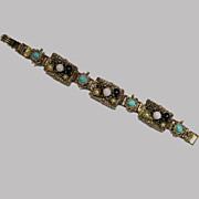 Vintage Florenza Style Book Chain Goldtone Bracelet 1960s