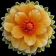 Vintage Coro Enameled Flower Brooch Pin Dimensional